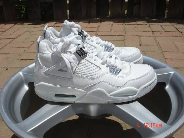 nike jordan iv 4 retro pure money white chrome size 8. Black Bedroom Furniture Sets. Home Design Ideas