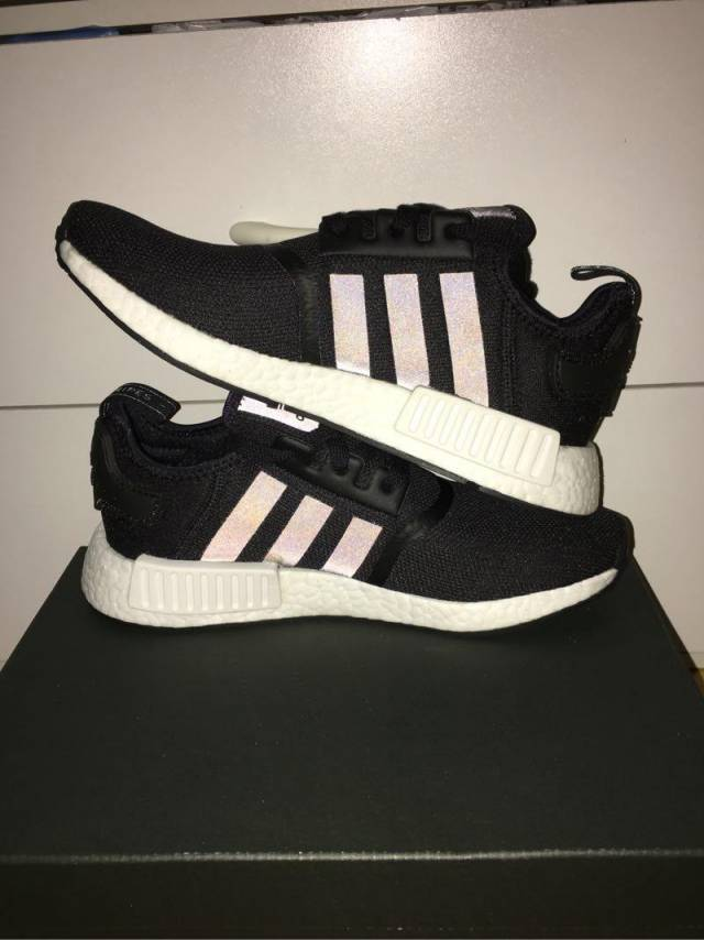 dce4fedd7cc6f Adidas NMD R 1 Core Black   White Reflective Kids 3.5-7US