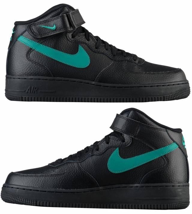 Nike Air Force Verde 1 Mid Hombres Casual Negro Neptuno Verde Force Autentico 543cc6