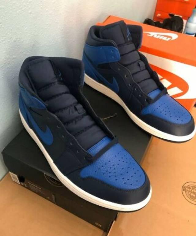 Nike Air Jordan 1 Mid Obsidian Black Game Royal Blue Men S 8 5