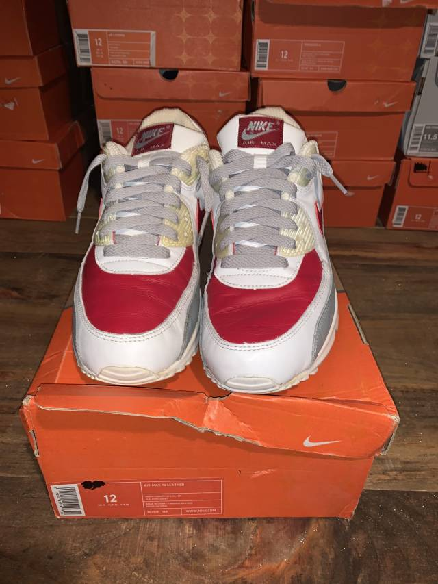Nike Air Max 90 White Grey Red Size 12 Kixify Marketplace