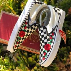 Vans slip on roses customs