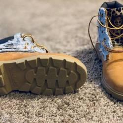 Distressed jean timberlands